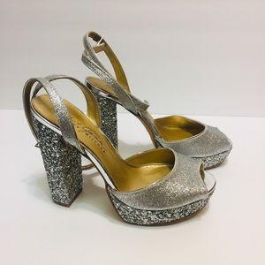 Badgley Mischka Silver Glitter Platform Sandals 8